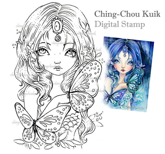 Blue Sea Illusion - Digital Stamp Instant Download / Gemstone Butterfly Mermaid Fairy Girl Fantasy Art by Ching-Chou Kuik