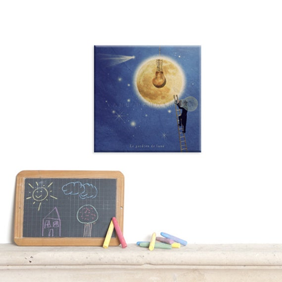 Wall Art Canvas, Photo Canvas Prints, I love you to the moon and back, Nursery decor, Royal blue, yellow, Children's decor, Moonlight print