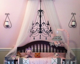 PERSONALIZED Canopy Crown Crib Nursery Teester SaLe Black Pink Princess Embroidered