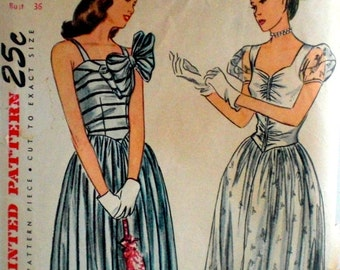Vintage 1940s Evening Gown Pattern Simplicity 1606 Bust 36 Evening Dress Pattern
