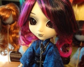 Doll Wig Size 8-9 Monique Sahara SD BJD, Pullip, Blythe Synthetic Mohair Fibers Black with Hot Pink