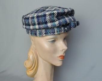 Vintage 1950s Plaid Hat Blue, Black &  Lavender Wool Hat,  fits 21 inch head