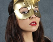 Kitty Leather Mask in Gold