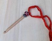 Portable Crochet hook - Size J Lampwork Bead