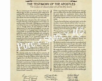 LDS The Living Christ 11 X 14  PDF  - Testimony - Proclamation