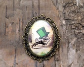 Green Mad Hatter brooch - Alice in Wonderland - Sepia badge pin - Bronze tone - Vintage style cameo- John Tenniel character portrait