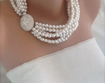 Pearl necklace , Bridal Chunky Layered Ivory Necklace with Rhinestone brooch brides bridesmaids