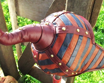 Leather Striped Pointy Hat OOAK with Brass Studs for Medieval/ Mongol Garb