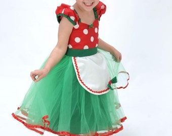 Christmas dress MINNIE MOUSE  dress tutu Christmas Party Dress  in Red Polka Dots super twirly  dress 1st Birthday party