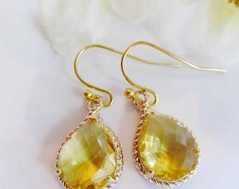 Yellow Crystal Earrings, Yellow Teardrop, Earring Necklace Set, Lemon Yellow, Bridesmaid Jewelry, Drop Earrings Wedding Jewelry