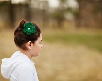 Emerald Green Hair Clip Emerald Hair Clip Crochet Flower Hair Clip Flower Barrette Green Barrette Baby Hair Clip Baby Girl Hair Clip Spring