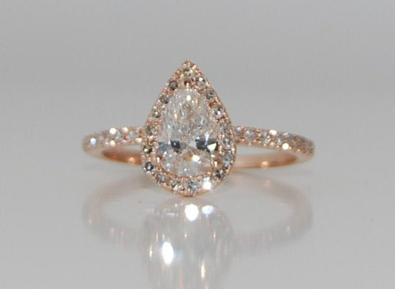 Rose gold diamond ring pear cut diamond ring by EidelPrecious