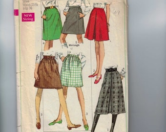 1960s Vintage Sewing Pattern Simplicity 7816 Misses Front Pleat A Line Knee Length Skirt Waist 25 1/2 Size 12 1968 60s  99