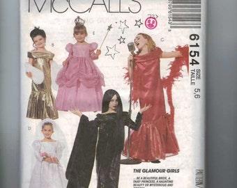 Kids Sewing Pattern McCalls 6154 P405 Glamour Girls Costume Bride Witch Elvira Torch Singer Princess Size 5 6 7 Breast 24 25 26 1992 90s  99
