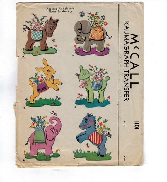 Vintage embroidery transfer mccall applique animals with