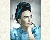 Frida Kahlo Instant Digital Download Art Print Daguerreotype Tinted Vintage Photograph Aqua Blue Grey Black White Poster Illustration