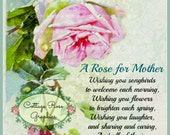 Vintage Mother's Day collage Single Pink Rose Large digital download BUY 3 get one FREE ecs svfteam