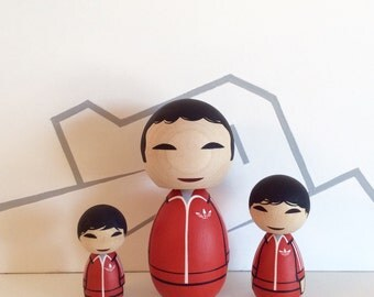 Kokeshi Doll set Chas, Ari and Uzi Tenenbaum from The Royal Tenenbaums