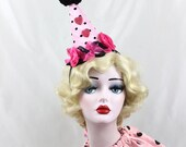 Birthday Party Hat - Sexy Circus Costume - Clown Hat - Pink and Black Polka Dots