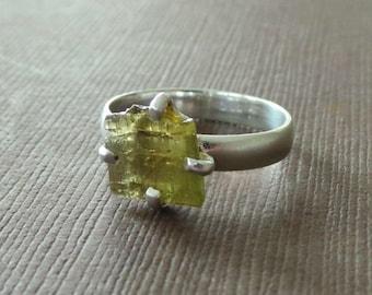 Organic Raw Watermelon Green Toumaline Clutch Solitaire Ring Birthstone Ring Raw Gemstone Ring