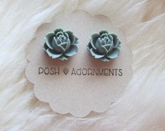Large Grey Rose Floral Stud Earrings