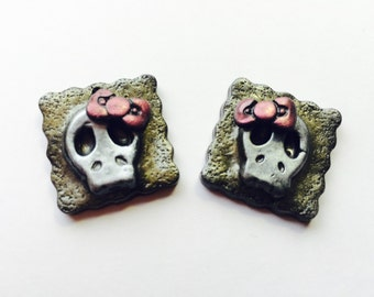 Pretty Pink Bow Skull Handmade Polymer Clay Focal Beads