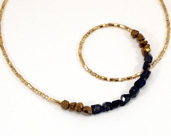 Black Titanium Crystal and Pyrite necklace