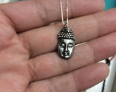 "Silver Buddha necklace on 18"" sterling box chain"