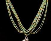 Colorful Multi-Strand Necklace - Lapis & Turquoise