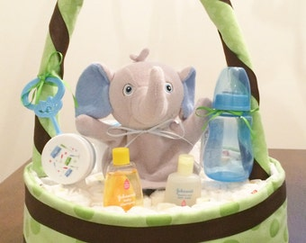 Baby Diaper Basket|Baby Shower Gift|Infant Diaper Basket|Party Centerpiece|Diaper Gift Basket