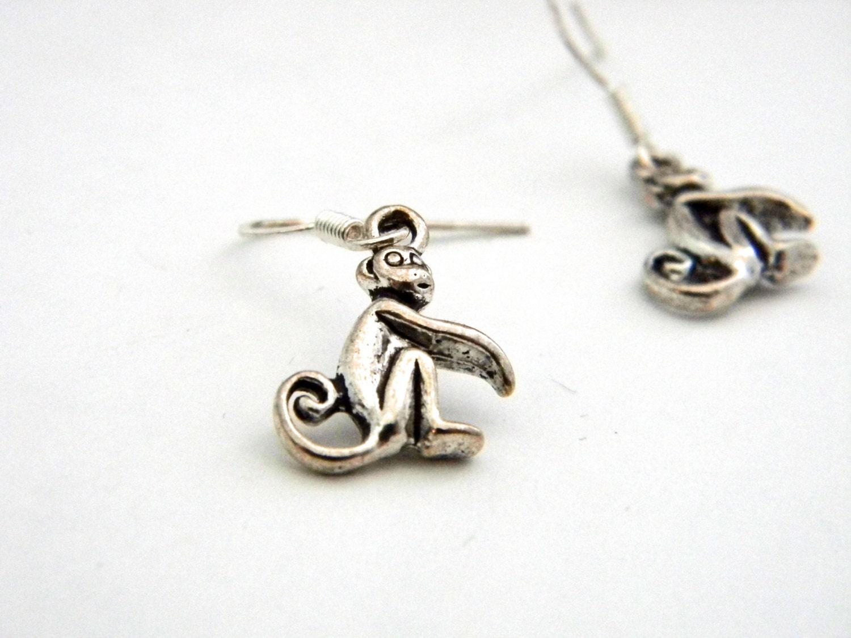 monkey earrings silver color dangle earrings