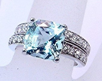 AAAA Aquamarine Cushion Cut 2.25 carats 9x9mm 14K white gold Diamond bridal set(.60ct) 0361