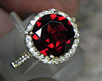 AAA Natural Red Pyrope Garnet   10mm  4.00 Carats   in 14K Yellow gold Halo ring with  .35 carats of diamonds MMM