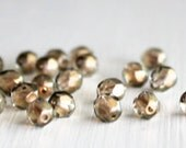 25 Halo Linen Faceted 6mm Czech Glass Rounds