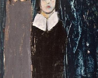 Digital Print. Girls Figure Painting. Slate Blue Art. Home Wall Art Decor. Art Gift for Sister.