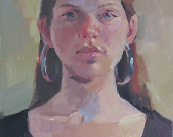 """Sale! Art oil painting portrait """"Lindsey with Earrings"""" Original by Sarah Sedwick 11x14in"""