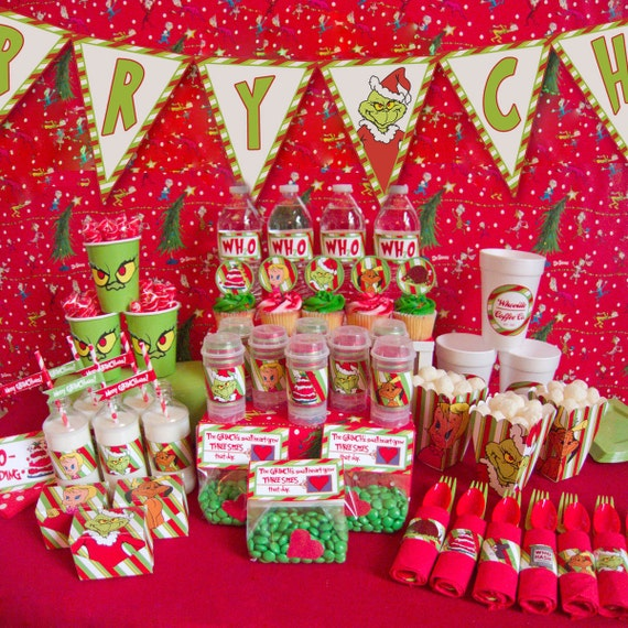 How the Grinch Stole Christmas Party Printables -- DIGITAL -- banner, invitation, cupcake picks, favor bags, popcorn boxes, and more!