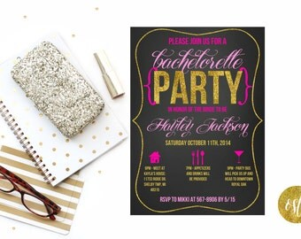 Glitter Girl // Bachelorette Party Invitation - Customizable and PRINTABLE
