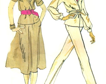 1970s Skirt Pattern Pants McCall's Vintage Sewing Front Wrap Jacket Uncut Women's Misses Size 16 Bust 38 Inches