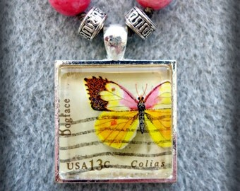 Beaded 1977 USA Butterfly Postage Stamp Pendant Necklace (One of a Kind!)