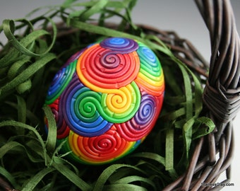 Rainbow Easter Egg in Polymer Clay Filigree (Large)