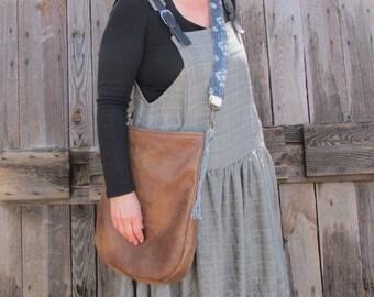Bag Vegan Leather with sturdy denim strap  sashiko and boro style accents