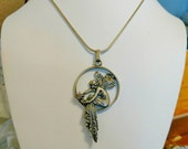 "Art Nouveau Fairy Necklace, Barcelona Lady, 16"" Silver Chain, great condition!"