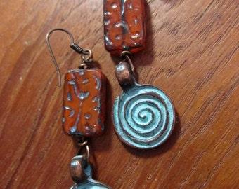 Green Patina Metal Swirl Earrings - Copper Rust Czech Glass