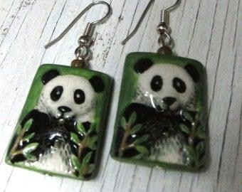 PANDA Porcelain Earrings, Hand Painted - Whimsical - Animal Lover