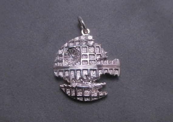 Small death star pendant - sterling silver
