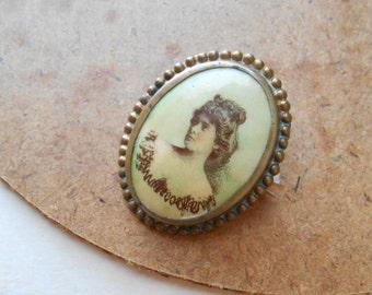 victorian antique printed transferware celluloid cameo c clasp antique portrait