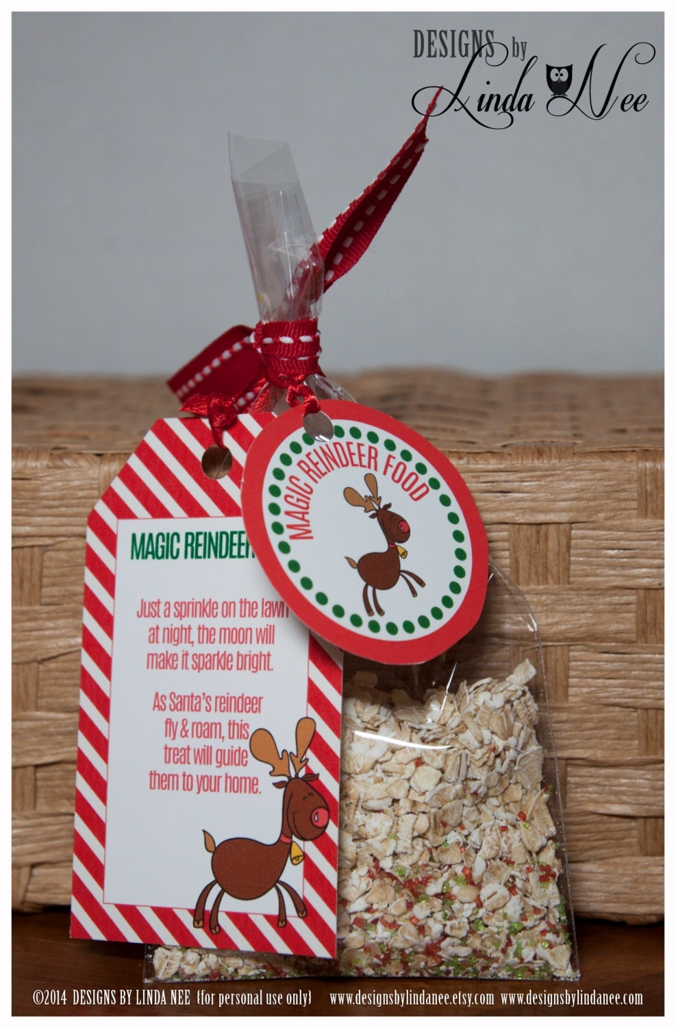 Magic Reindeer Food Gift Tag Card Rectangle by DesignsbyLindaNee