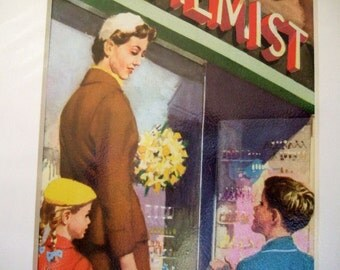 Mummy Takes Peter and Jane to the Chemist - Vintage Ladybird Illustration Ready to frame