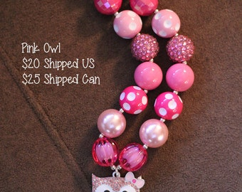 SALE 25% off! Valentine Owl Chunky Bubblegum Necklace RTS